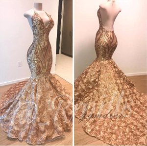 Африканское золото Mermaid платье выпускного вечер 2020 Холтер V шеи 3D цветы рукавов вечернего платья Длинных Arabic Дубай партия мантии BC1335