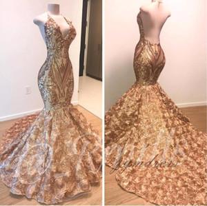 African Gold sirène Robes de bal 2020 Halter col en V 3D Fleurs manches robe de soirée longue arabe Party Dubai Robes BC1335