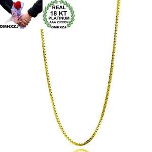 El regalo de boda al por mayor de la personalidad OMHXZJ Partido muchacha de la mujer de la manera OL Oro 1MM la cadena de Caja 18KT oro de la cadena NC159