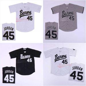 Michael 45 # Men Birmingham Barões Jerseys Botão Down Filme Preto Branco Cinza costurado Filme Camisola de Beisebol Frete Grátis