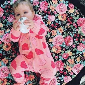 2020 Autumn Winter Baby Rompers Flower Printing Newborn Baby Girl Long Sleeve Zip Romper Toddler One Pieces Jumpsuit MBR0184