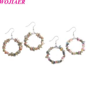 WOJIAER Natural Stone Round Hoop Dangle Earring Pink Quartz Tiger Eye Gravel Chip Bead Healing Jewelry for Women DBW907