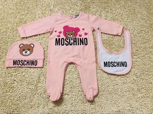Bebek Romper Tasarım Bebek Giyim Boys Kız Tam Kol Pamuk Tulumlar tulum + Hat + Önlüğü 3pcs ayarlar / set Suit