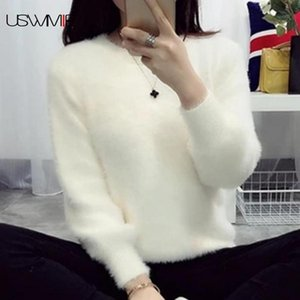 2019 Sweater Mulheres Moda Simples Casual lanterna luva cor sólida solto Comfort Cashmere Knitting Mohair Fur pulôver USWMIE Y200116