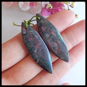 Semi-precious stones Natural Dragons Blood Jasper Earring Bead,Fashion Earring Jewelry,43x13x4mm,7.4g