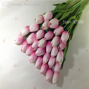 Wholesale-Free shipping 21PCS LOT pu mini tulip flower real touch wedding flower artificial