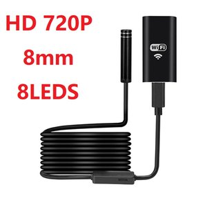 WIFI التنظير عدسة الكاميرا 8MM 8LEDS HD720P لينة سلك واي فاي اللاسلكية endoscopio ماء borescope تفتيش مصغرة للهواتف الذكية
