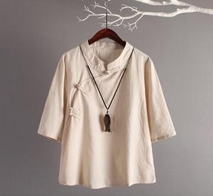 Stile Cinese Di Lino Top New Retro Art Cotone Obliquo Bottoni Sette Maniche Di Lino Allentato Top Donna Abbigliamento Tradizionale Cinese