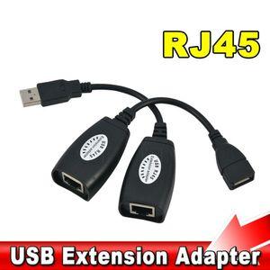 Adaptador de extensión de extensión USB 2.0 macho hembra hasta 150 pies con CAT5 / CAT5E / 6 RJ45 Lan Network Ethernet Repeater Cable