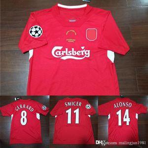 04 05 Final de Estambul fútbol Jersey retro Gerrard Steven 2004 2005 Smicer Alonso Hamann Shirts Campeón de Footbal de la vendimia Calcio MAGLIA