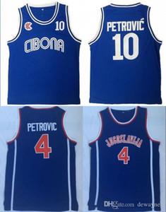 Para hombre de la vendimia Croacia # 10 Cibona Baloncesto Drazen Petrovic jerseys baratos Drazen Petrovic # 4 Jugoslavija Yugoslavia, Croacia cosido camisas
