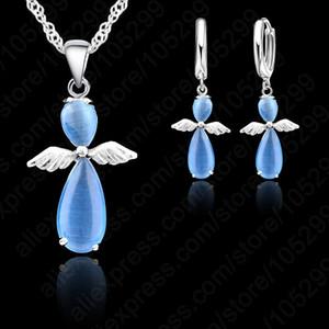 PATICO Angle Wings Lever Orecchini con pendente Collana Set Cat Eye Stone S90 Set di gioielli in argento per ragazze