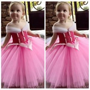 Omuz Tül Pembe Çiçek Kız Elbise 2020 Yumuşak Zemin Uzunluk Çocuklar Parti Gowns Cheap Kapalı
