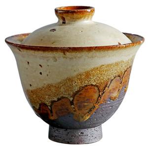 Retro Tea Terrina Grosso Olaria Kiln Gaiwan Feito à Mão japonês Estilo Kung Fu Tea bacia Detalhes cerimônia do chá em cerâmica