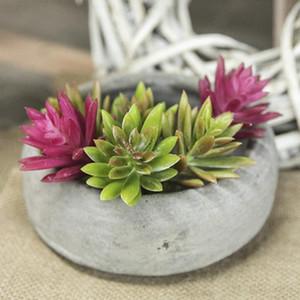 Yapay Bitkiler Succulents Lotus Çim Yapraklar Peyzaj Simülasyon Tesisi Home Office Sahte Çiçek Dekorasyon Tablo Dekoratif Sahte Bitki
