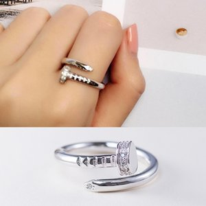 Diseño de uñas tornillo esterlina S925 astilla del anillo del Rhinestone de cristal de diamante con incrustaciones creativas vestido femenino de los anillos de dedo de decoración