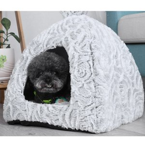 Pet Dog Cat Tent House Kennel Winter Warm Nests Soft Foldable Sleeping Mat Pad Quality Cotton Puppy Cat Bed Puppy House