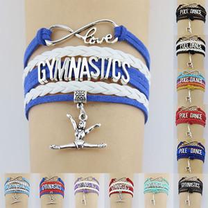 10 Pçs / lote Ginástica Pólo Dança Esportes Amor Infinito Amor Antigo Prata Charm Bracelets Mulheres Homens Menina Meninos Presente Da Jóia Muitos Estilos