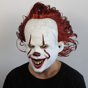 Joker Pennywise Mask Stephen King It Chapter Two 2 Horror Cosplay Latex Masks Helmet Clown Halloween Party Costume Prop 2020