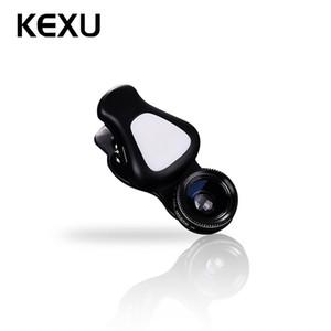 Vente en gros 3 en 1 Lens Fill Light 140 degrés Grand Angle 15X Macro Lens Clip-on Cell Phone Kit de lentilles de caméra pour iPhone Samsung Android
