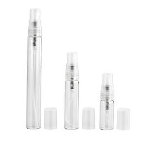 500pcs / lot bewegliche Mini-Duftstoff-Flasche Glas Leere Flasche Kosmetik Flaschen Toner Sprühflasche Vernebler 2 ml 3 ml 5 ml 10 ml