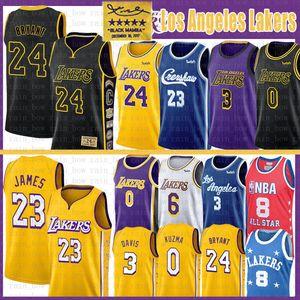 Леброн Джеймс 23 6 Баскетбол Джерси Брайант Энтони Дэвис 3 Кайлы 0 Кузьма Mens взрослые Молодежные дети NCAA 8 2020 NEW трикотажных изделий колледжа NCAA