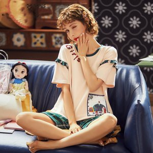 ملابس البيت الصيفية Pajama يضع النساء Pajama شورت قطن أبيض قطعتان تلبس النساء