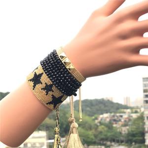 Friendship Bracelet Punk Estilo Semente Handmade Bead pulseiras VSCO Estrela de cinco pontas rebites Jóias Handmade pulseira ajustável Amizade