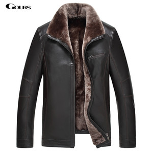 Gours Winter Men's Genuine Leather Jackets  Clothing Fashion Black Sheepskin Jacket and Coats with Wool Collar 2018 New 4XL