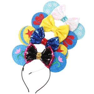 Snowflake Flower Printing Hair Band Cartoon Child Bow Headband Girl Bow Hair Hoop Festival Party Birthday Gifts TTA905