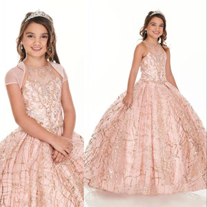 Little Rose Gold Sequined Lace Girls Pageant Dresses Crystal Beaded Pink Kids Prom Dresses Birthday Party Gowns For Little Girls With Jacket