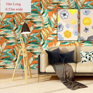 American wallpaper garden new Chinese ink painting leaves creative wallpaper TV Sofa background wall bedroom hotel decoractive