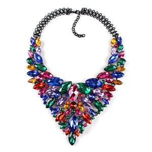 الجواهر الملونة الكبيرة ماكسي القلائد للنساء موضة جديدة فاخرة بيان مجوهرات الزفاف المختنق القلائد المعلقات CE3954