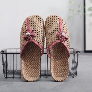Suihyung Women Summer Shoes Breathable Linen Slippers Casual Flat Slides With Flower Woman Home Slippers 2019 New Flax Sandals