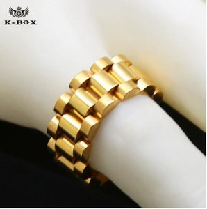 NBABuyer 24Kgold plated classic men rings Stainless Steel Golden Link Ring Hip hop Mens Watchband Style President men ring watches band ring