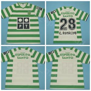 2003 2004 Sporting CP Lizbon Retro Futbol Forma Erkekler Cristiano 28 RONALDO Luis Figo Liedson Bento Ev Yeşil Futbol Gömlek Setleri