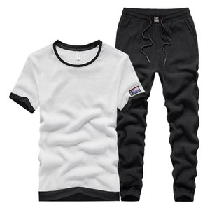 Two-piece Big Yards Mens Designer Leisure Suit Male Summer Thin Section Running Short-sleeved Track Suit Trousers Piece Fitted Tide T Shirt
