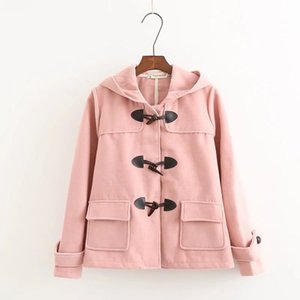 Duffle Coat Long Turn Down Horn Button cuello con capucha chaqueta de lana para mujer college wind winter windproof warm coat women