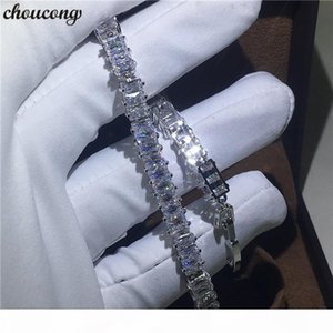 Vecalon Classic bracelet White Gold Filled T shape Diamonds cz Engagement Wedding bracelets for women Hand Jewerly