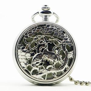 Retro Skeleton Rome Numbers Silver Craft Hollow Ciondolo Steampunk Pocket Watch catena mano vento orologio meccanico