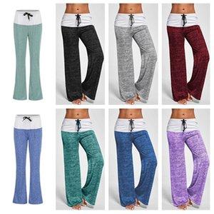 Pantalones de la yoga de las mujeres calientes estiramiento cómodo suave de la llamarada pantalones anchos de la pierna entrenamiento T2B5026 pantalones de Legging remiendo Boot Cut Deportes prendas de vestir en casa