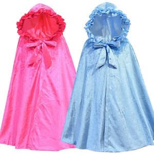2 couleurs Kid hiver Cape Coat Snow Queen 2 Cosplay capuche Cape Costume fille Poncho 2020 Nouveau