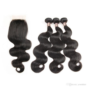 Great Quality 3 Bundles with Lace Closure Deal 4 Pcs Lot Cheap human Virgin Hair Bundles Free Shipping Wholesal