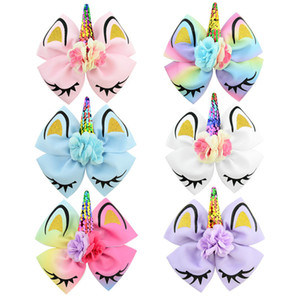 Baby Girl Unicorn Barrettes 6 Lentejuelas de diseño Artificial Flower Kids Headwear Baby Headbands Girls Hair Clips 07