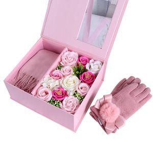 Soap Flor Avançada Scarf Set Mão dom caixa de presente de Natal Para Enviar 'Day Gift Festival Mãe aniversário S' Valentine S Day