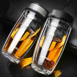ONEISALL 380ML Double Water Bottle Car Mounted Scald Proof Glass Bottle Stainless Steel Filter Tea Tumbler male