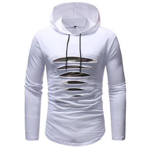 Mens Hipster Hip hop Hole Scratch Hooded T shirts Long Sleeve Solid Color Tees Tops Fashion Clothing