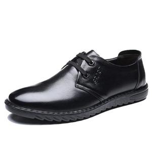 LIMEIKE Men's Formal Oxford Dress Shoe,Elegant Pointed Toe Design,Genuine Leather Office Wedding shoes men casual Flats shoes