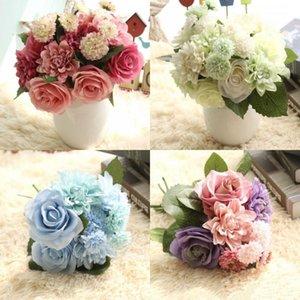 Nova Noiva Rosa De Seda A Granel Buquê De Flores Para Festa De Casamento Flor Corredores Decoração de Casa Flor Artificial Arranjo Da Dama De Honra Flor