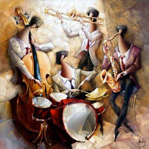 High quality Oil Paintings of Jazz Quartet canvas art abstract woman Hand painted Personalized Gift